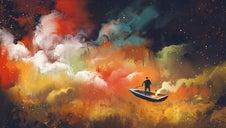 Un jeune homme sur une barque dans un univers de couleur