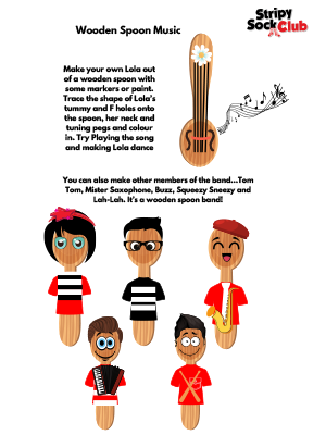 Wooden Spoon Music Craft Project Instructions