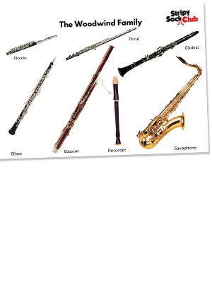 The Woodwind Family  Printable Poster