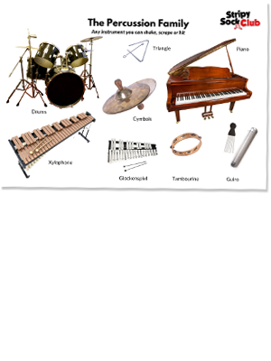 The percussion Family  Printable Poster